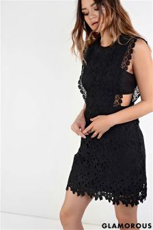 Glamorous Cutout Detail Crochet Dress