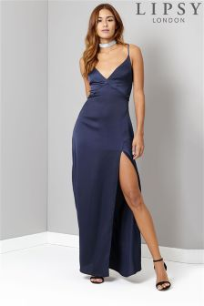 Lipsy Satin Wrap Split Maxi Dress