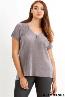 Glamorous Curve Pleated Top