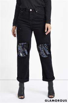 Glamorous Curve Sequin Patch Denim Jeans