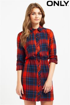 Only Checked Shirt Dress