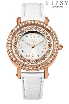 Lipsy Strap Watch With Diamante Face