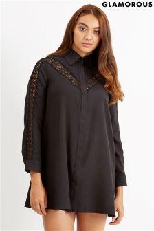 Glamorous Curve Lace Insert Shirt Dress