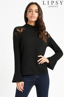 Lipsy High Neck Lace Shoulder Flute Sleeve Top