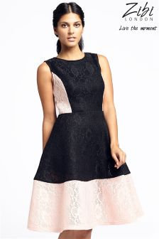 Zibi London Two Tone Lace Midi Dress