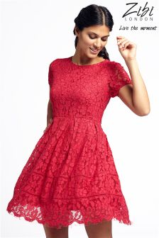 Zibi London Fit And Flare Lace Dress