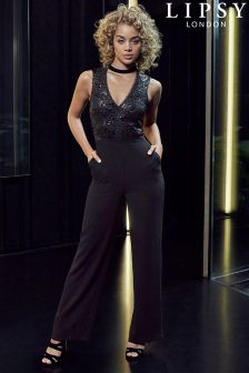 Lipsy Sequin Choker Wide Leg Jumpsuit