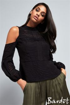 Bardot Black Cold Shoulder Top