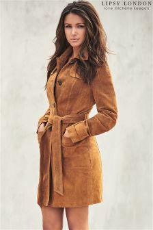 Lipsy Love Michelle Keegan Suede Belted Coat