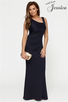 Jessica Wright Navy Contrast Panel Ruched Maxi Dress