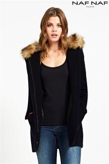 Naf Naf Hooded Long Sleeve Coat