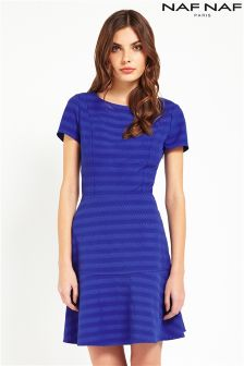 Naf Naf Royal Blue Striped Dress