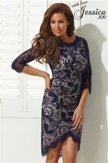 Jessica Wright Asymmetric Hem Lace Bodycon Dress