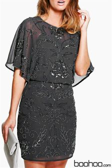 Boohoo Boutique Beaded Batwing Dress