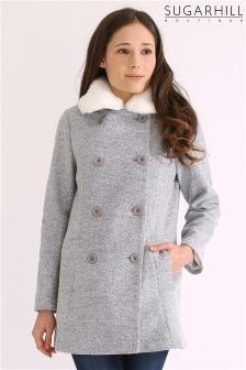 Sugarhill Boutique Double Breasted Faux Fur Collar Coat