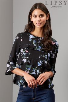 Lipsy Printed Frill Front Blouse