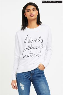 Noisy May Girlfriend Material Logo Jumper