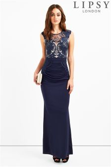 Lipsy Lace Ruched Maxi Dress