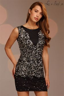 Lace & Beads Sequin Shift Dress