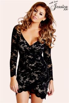 Jessica Wright Lace Bardot Bodycon Dress