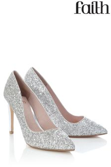 Faith Fabulous Glitter Point Court Shoes
