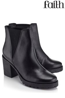 Faith Saxon Block Heel Ankle Boots