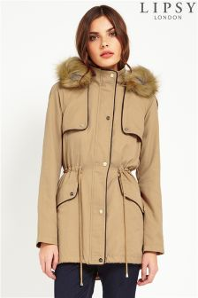 Lipsy Faux Leather Trim Parka