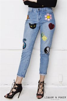 Liquor N Poker Sequin Badge Boyfriend Jeans