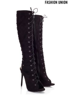 Fashion Union Lace Up Knee High Boots