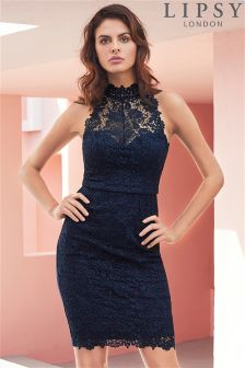 Lipsy Lace High Neck Bodycon Dress