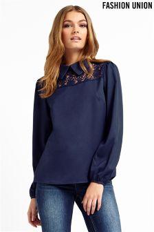 Fashion Union Lace Insert Blouse