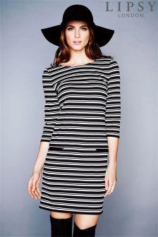 Lipsy Striped 3/4 Sleeve Shift Dress