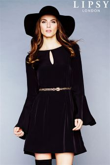 Lipsy Bell Sleeve Skater Dress