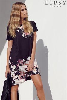 Lipsy Floral Print T-Shirt Dress