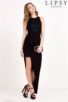 Lipsy Lace Slinky Thigh Spilt Maxi Dress