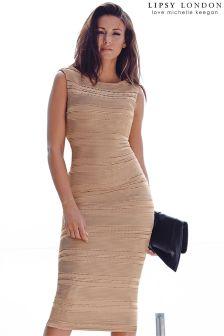 Lipsy Love Michelle Keegan Ripple Detail Midi Bodycon Dress