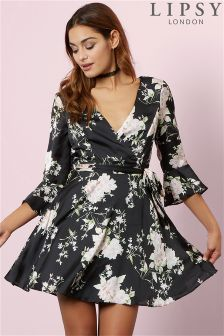 Lipsy Floral Satin Flute Sleeve Skater Dress