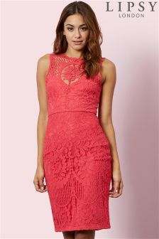 Lipsy Lace Placement Bodycon Dress