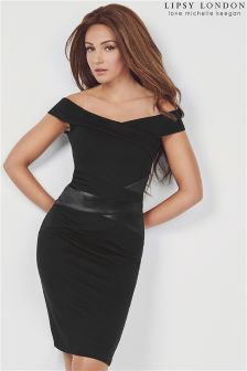 Lipsy Loves Michelle Keegan Bardot Satin Panelled Bodycon Dress
