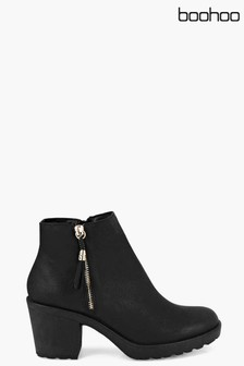 Boohoo Chunky Side Zip Ankle Boots
