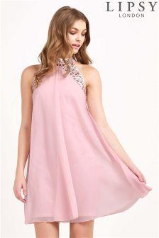 Lipsy Highneck Embellished Swing Dress