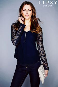 Lipsy Lace Sleeve Zip Top