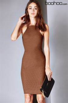 Boohoo Demi Strappy Cutaway Midi Bodycon Dress