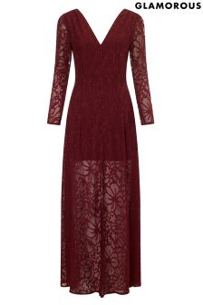 Glamourous Sheer Lace Midi Dress
