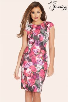 Jess Wright Poppy Floral Pleated Cap Sleeve Dress