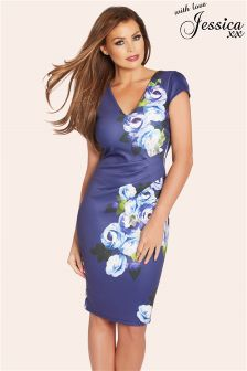 Jessica Wright Floral Print Pleated V Neck Dress