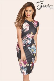 Jessica Wright Black Edenfloral Print Ruched Cap Sleeve Dress