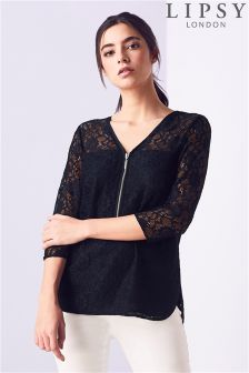Lipsy Long Sleeve All Over Lace Zip Blouse