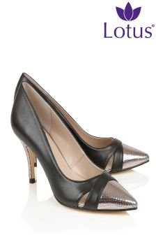 Lotus Contrast Court Heeled Shoes
