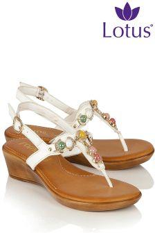 Lotus Embellished Strap Sandals